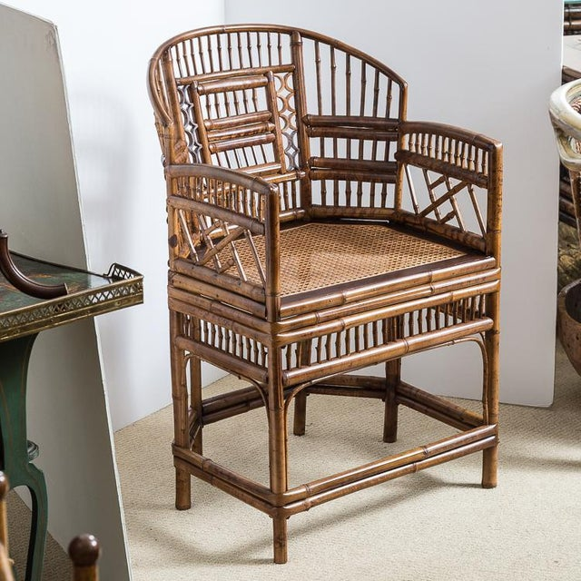 Boho Chic Brighton Bamboo Barrel Chairs by Thomasville Old Label, , A-Pair For Sale - Image 3 of 12
