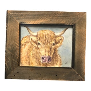 Original Contemporary Bull Portrait Watercolor Painting Barn Wood Frame For Sale