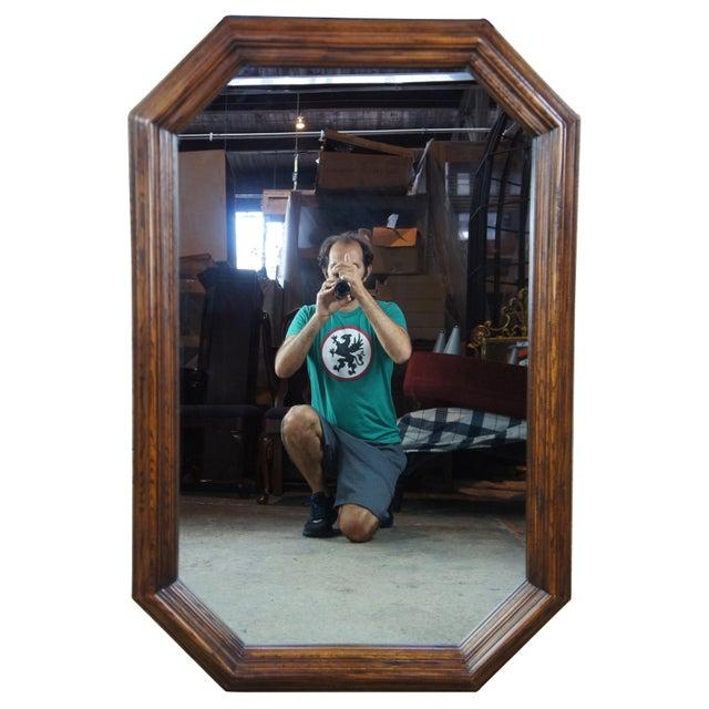 "1979 Henredon Oak Octogon Shaped Traditional Vanity Dresser Wall Mirror 48"" For Sale - Image 11 of 11"