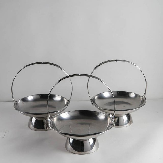 Set of three steel baskets attributed to Gio Ponti for Arthur Krupp, Milano.