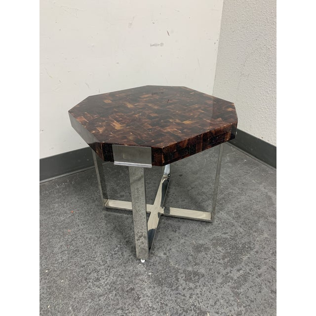 Hollywood Regency Palacek Shell + Chrome Side Table For Sale - Image 3 of 8