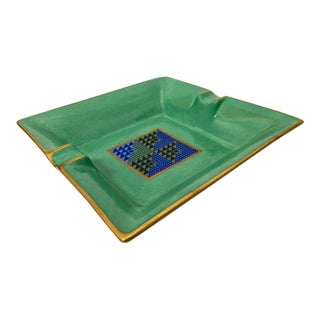 1970s Modern Porcelain Square Green and Gold Ashtray For Sale