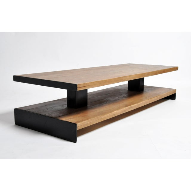 Modern Oak Wood Coffee Table With Metal Trim For Sale - Image 9 of 10