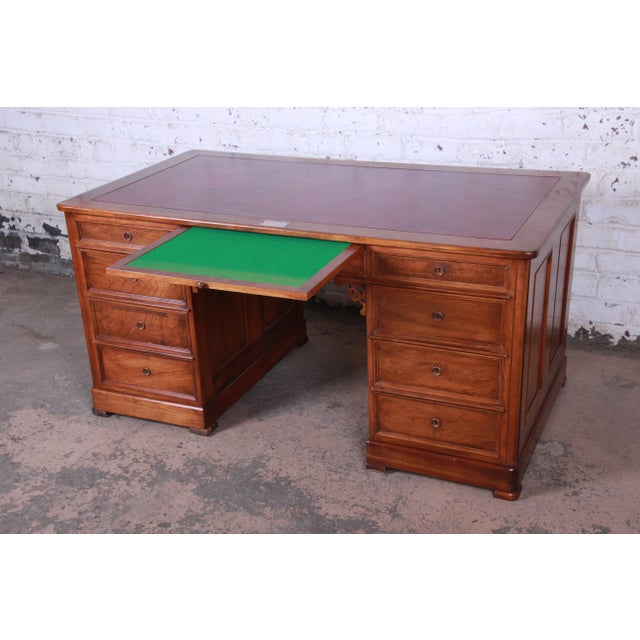 Harden Sleepy Hollow Collection Leather Top Partner Desk For Sale - Image 10 of 12