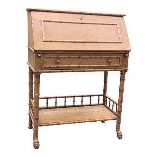 Antique Birds Eye Maple Faux Bamboo Secretary Desk For Sale