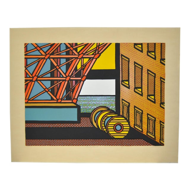 "1970s Vintage ""Fort Point"" Limited Edition San Francisco Silkscreen Print by Tom Fricano For Sale"