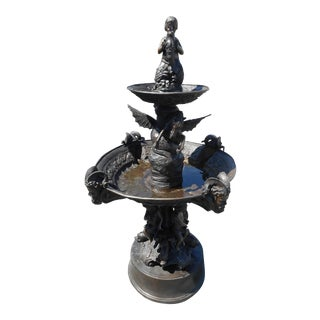 Two-Tier Bronze Fountain With Cherubs and Winged Horses For Sale