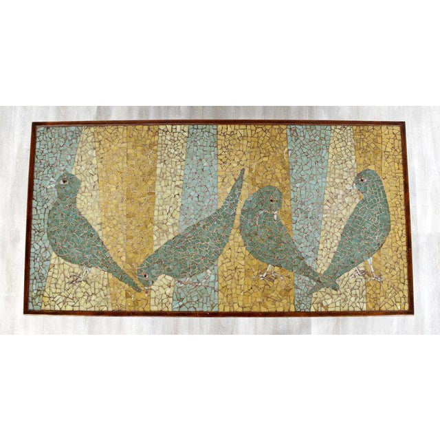 Arts & Crafts Mid-Century Modern Birds Mosaic Tile Art Top Rectangular Wood Coffee Table, 1960s For Sale - Image 3 of 8