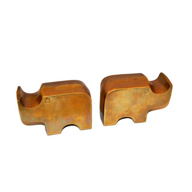 Mid-Century Modern Bronze Rhinoceros Bookends in the Manner of Fratelli Mannelli For Sale - Image 9 of 11