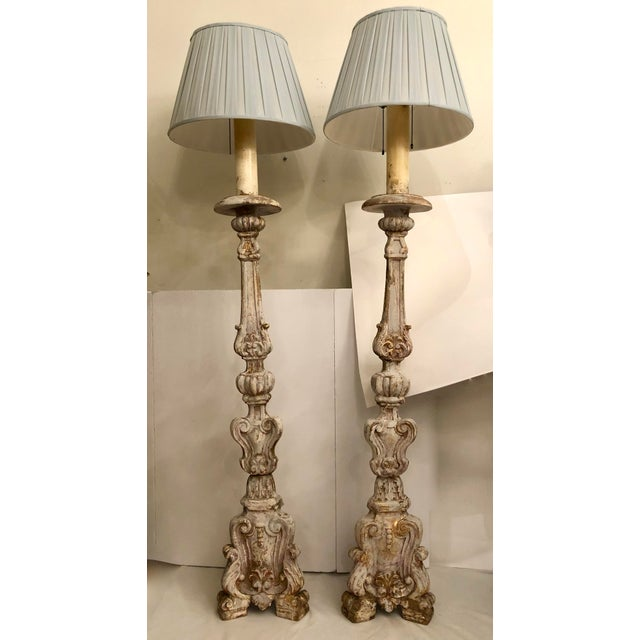 18th Century Italian Carved & Painted Wood Floor Lamps - a Pair For Sale - Image 13 of 13