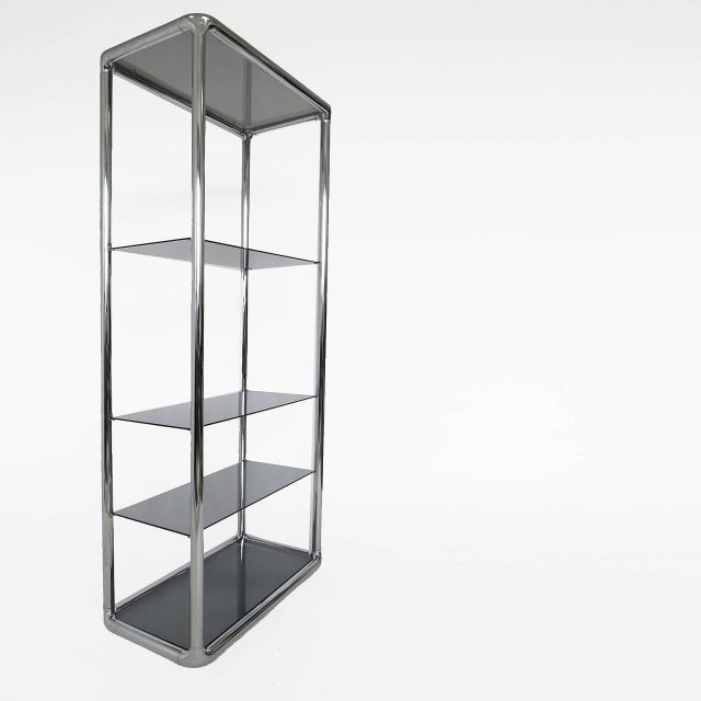 Chrome and Smoked Glass Etagere For Sale In Palm Springs - Image 6 of 6