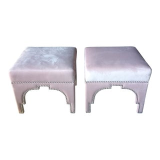 Blush Pink Velvet Ottoman With Nailheads For Sale