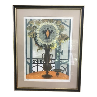 1960s Vintage Jean Pierre Alaux Limited Edition Sunflower Lithograph Print For Sale