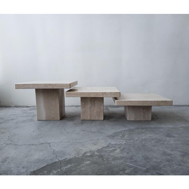 Contemporary Set of 3 Square Tiered Italian Travertine Bunching Tables For Sale - Image 3 of 8