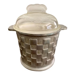 1940s Hand Forged Aluminum Ice Bucket With Glass Dome Lid For Sale