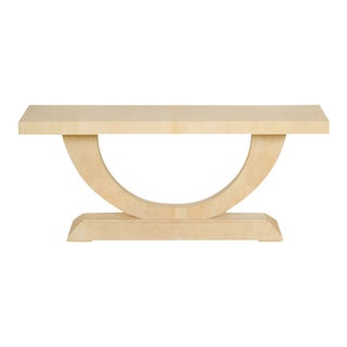 French Art Deco Style Parchment Console Table Circa 1990 For Sale