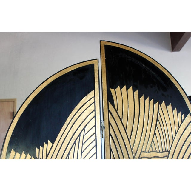 Vintage Donald Deskey Style Art Deco Lacquer and Gilt Chinoiserie Folding Screen Room Divider Heron Reed Motif For Sale - Image 9 of 13