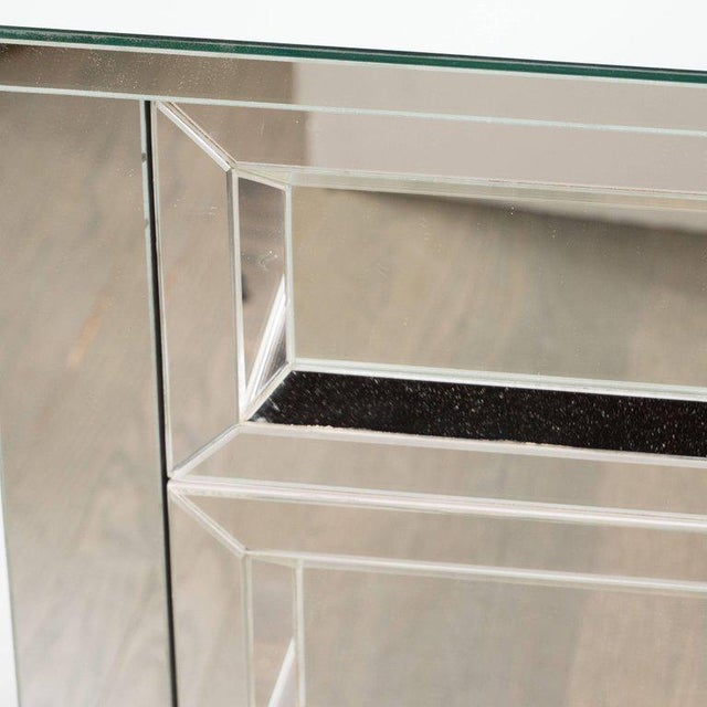 Silver Contemporary Directoire Style Custom Mirrored Nightstands with Three Drawers - a Pair For Sale - Image 8 of 10