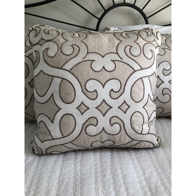 """Scalamandre Damascus Embroidery Square 18"""" Pillows (3 Available) For Sale - Image 9 of 13"""