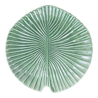 Olfaire Ceramic Green Palm Leave Serving Platter Handcrafted in Portugal For Sale