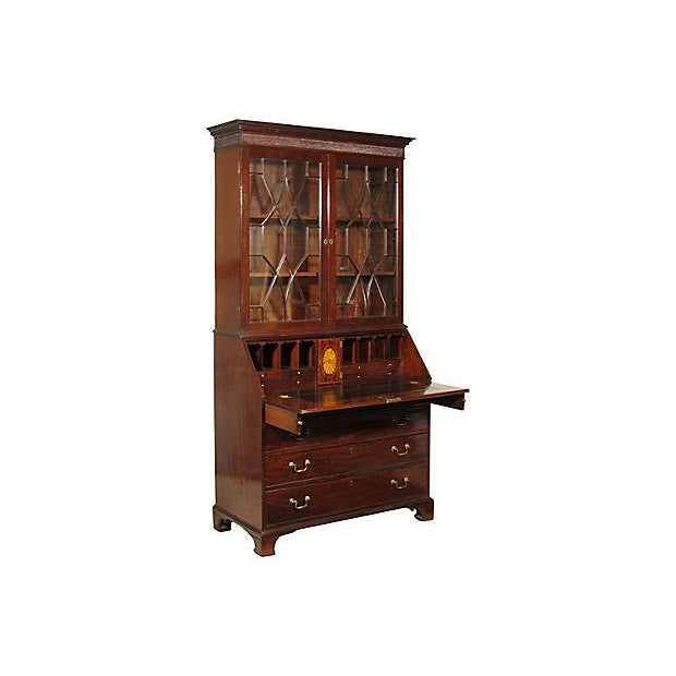 English Traditional 18th Century George III Mahogany Bureau Secretary For Sale - Image 3 of 7