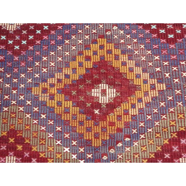 "Vintage Turkish Handmade Kilim Rug-6'1'x9'7"" For Sale - Image 10 of 13"