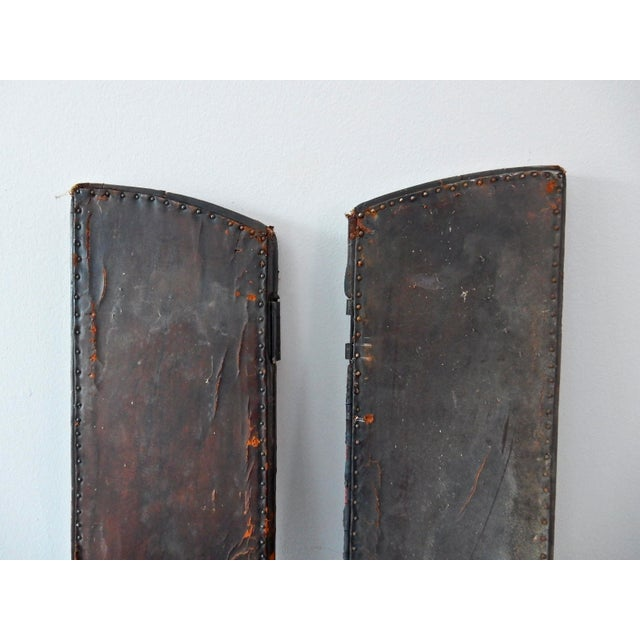 Antique Leather Doors - A Pair For Sale In Chicago - Image 6 of 11 - Antique Leather Doors - A Pair Chairish