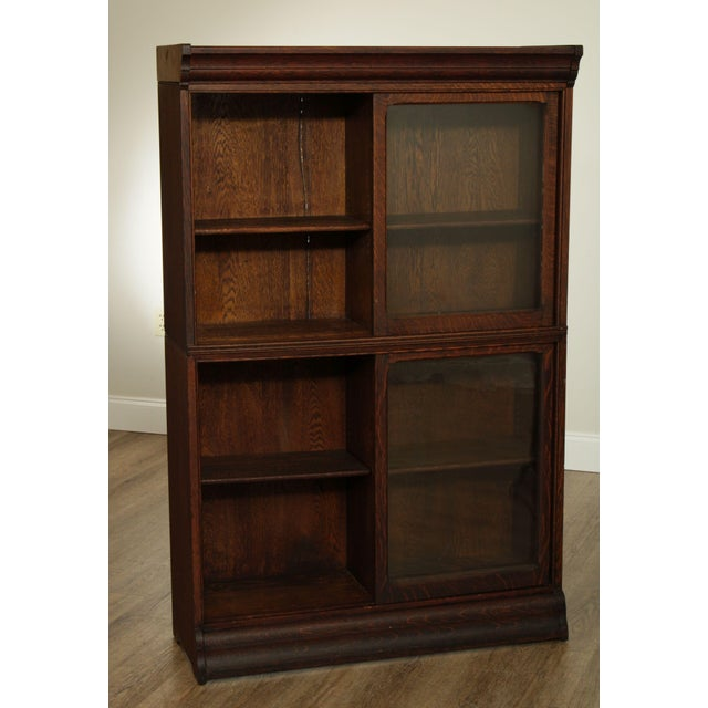 Brown Danner Antique Oak Stacking Sliding Door Bookcases (B) - a Pair For Sale - Image 8 of 13