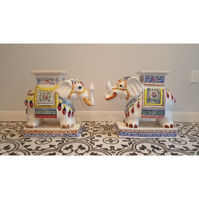Ceramic Elephant Side Tables - A Pair - Image 11 of 11