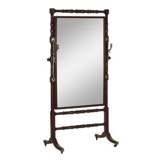 19th Century English Regency Period Antique Cheval Mirror For Sale