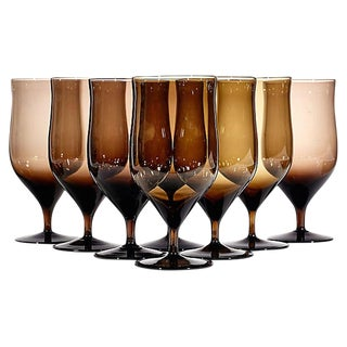Brown Ovoid Shaped Glass Stems, Set of 8