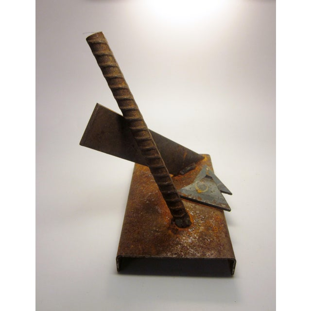 1960s Vintage Midcentury Modern Oxidized Steel Abstract Geometric Sculpture For Sale - Image 5 of 12