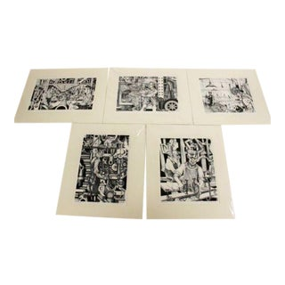 Adnan Charara Industrial Suite of Signed & Numbered Serigraph Prints - Set of 5 For Sale