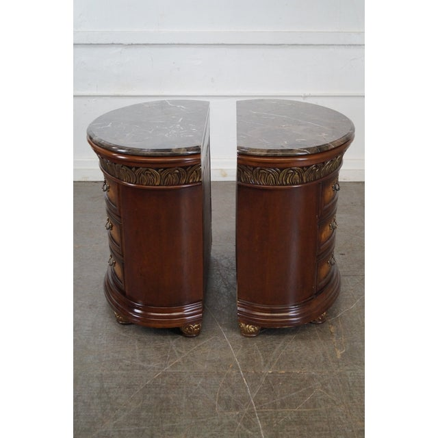 Louis XV Comitia Molina Demilune Burl Wood Marble Top Chests - a Pair For Sale - Image 3 of 10