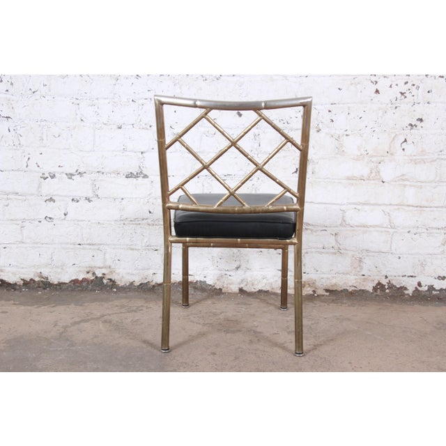 Mid-Century Modern Hollywood Regency Faux Bamboo Brass Dining Chairs - Set of 8 For Sale - Image 10 of 13