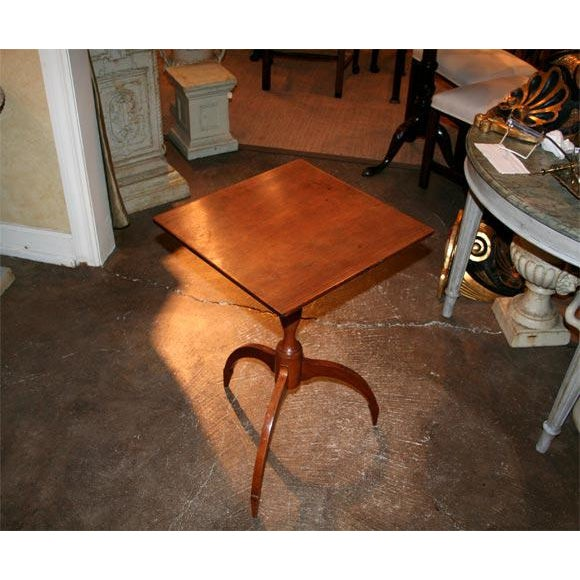 Very interesting american cherry candle stand with exaggerated spider arched legs giving it a contemporary feel.