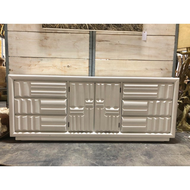White Midcentury Brutalist Lacquered Credenza by Lane For Sale - Image 8 of 8