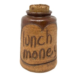 """Vintage Studio Pottery """"Lunch Money"""" Jar With Stopper For Sale"""