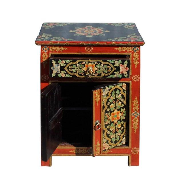 Tibetan Orange Red Black Floral End Table Nightstand For Sale - Image 5 of 6