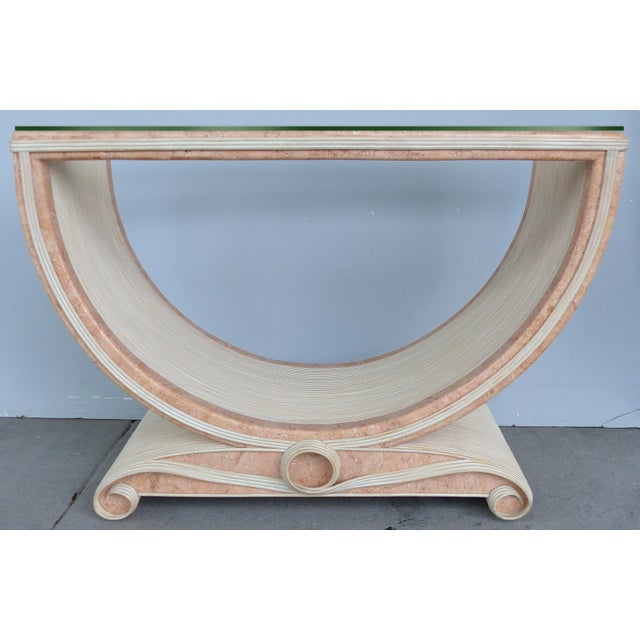 Gabriella Crespi Style Reed and Faux Painted Marble Console Table or Dining Base For Sale - Image 13 of 13