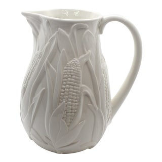 1980s Italian White Ceramic Corn Field Majolica Pitcher For Sale
