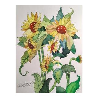 Sunflower Bud Botanical Painting For Sale