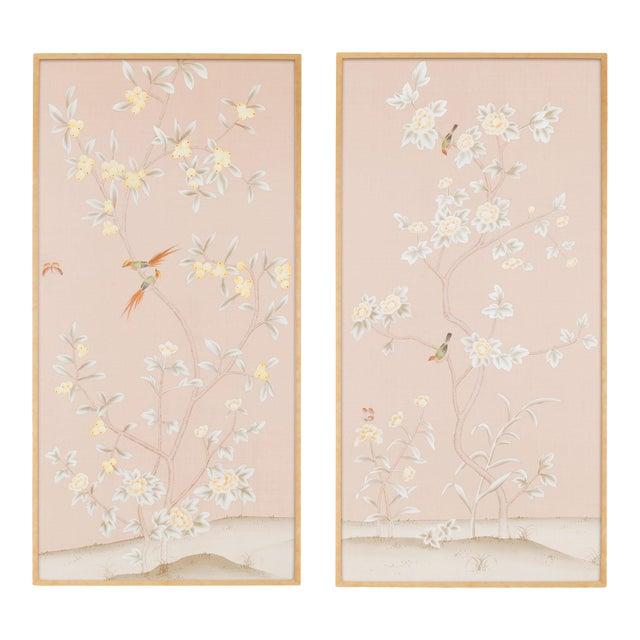 """Jardins en Fleur """"Pavenham Court"""" Chinoiserie Hand-Painted Silk Diptych by Simon Paul Scott – 2 Pieces For Sale"""