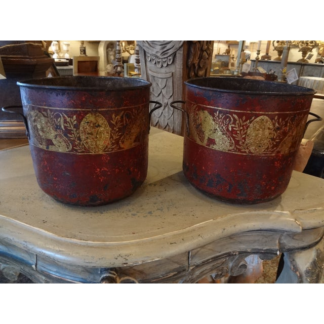 19th Century Pair of French Red Tole Jardinieres For Sale - Image 9 of 9