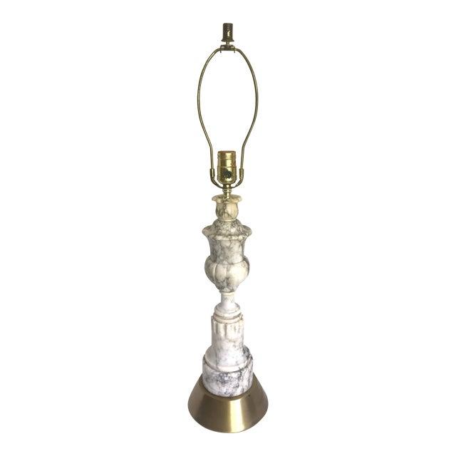 Vintage Carved Alabaster Marble Lamp For Sale