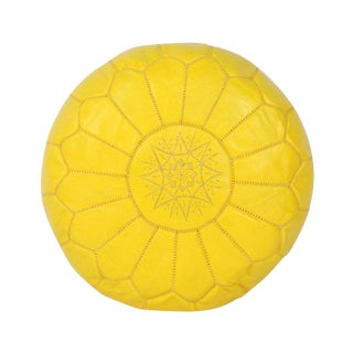 Yellow Leather Moroccan Pouf For Sale