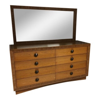 1950s Contemporary Paul Frankl for Brown Saltman Lowboy & Mirror For Sale