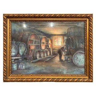 Mid-20th Century French Wine Vault Painting in Gilt Frame Signed Mathieu, 1931 For Sale