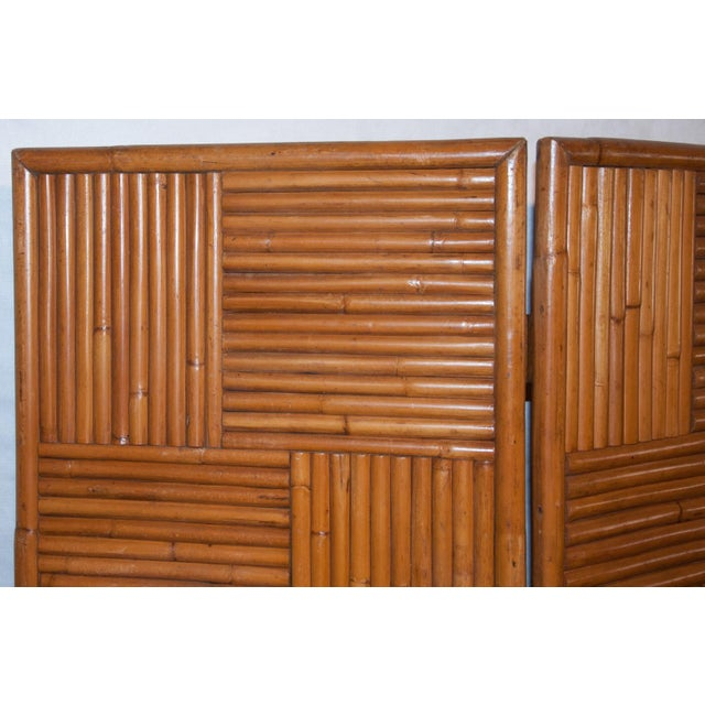 Asian Circa 1950 Vintage Japanese Rattan 3 Panel Folding Screen For Sale - Image 3 of 8