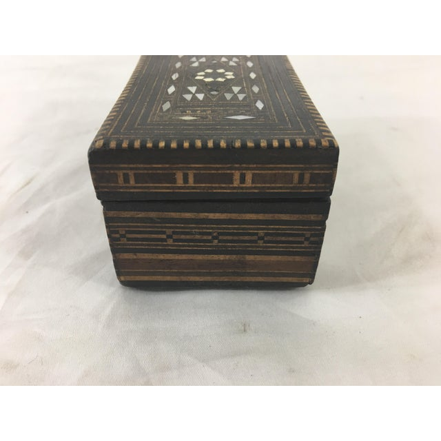Moroccan Moroccan Wood and Mother of Pearl Inlay Box For Sale - Image 3 of 8